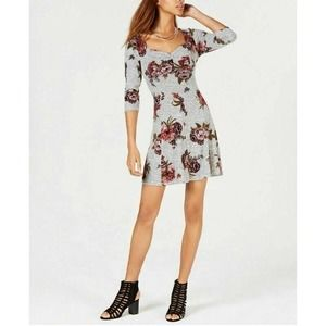 Bebop Sweater Dress Gray Floral XS New